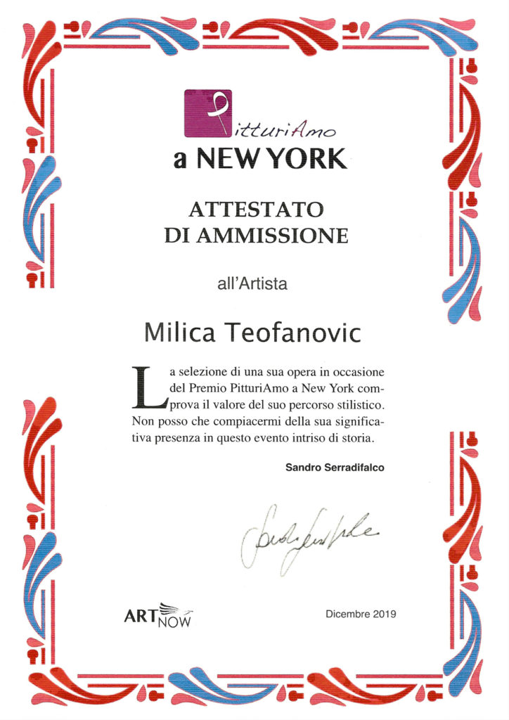 attestato di ammissione per NEW YORK